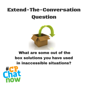 The extend-the-conversation question with a picture of a box with a green arrow in the center
