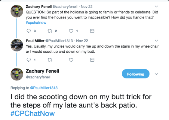 Paul and Zach discussing sliding down the stairs on their butts
