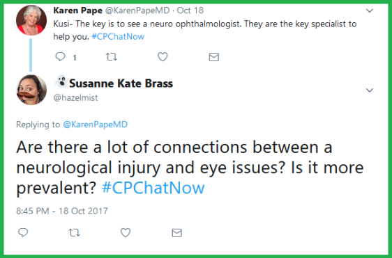 Dr. Karen Pape's response to a question about vision leads Susanne Kate Brass to ask a follow-up question.