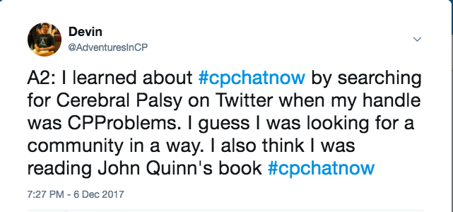 Me stating that I stumbled on #CPChatNow in a search, but I saw John Quinn tweet it