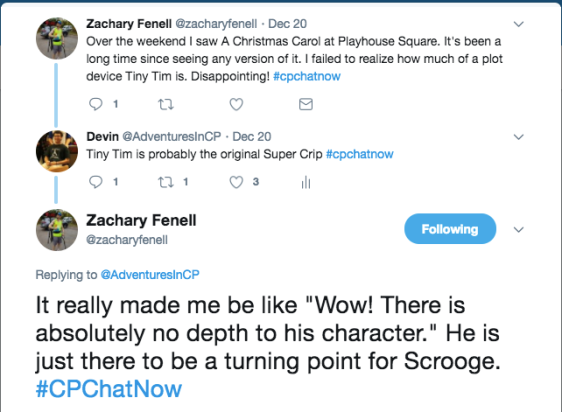 Zach lamenting that Tiny Tim in a Christmas Carol is just a plot device and a turning point for Scrooge