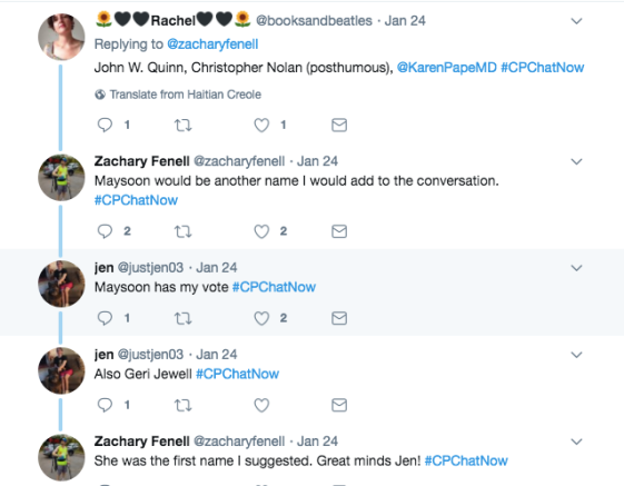 Members continue to discuss who they would like to see in the CP Hall of Fame