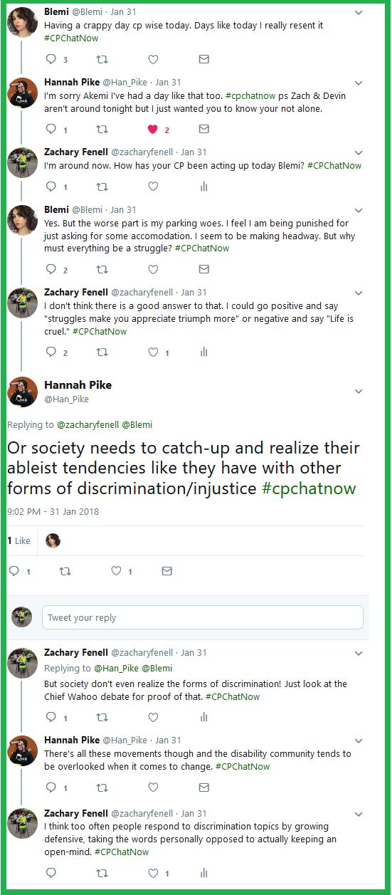 #CPChatNow participants discuss ableism and discrimination.