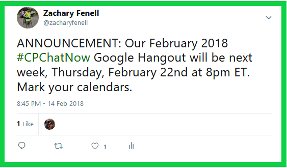 #CPChatNow will hold their monthly Google Hangout for February 2018 Thursday, February 22nd.