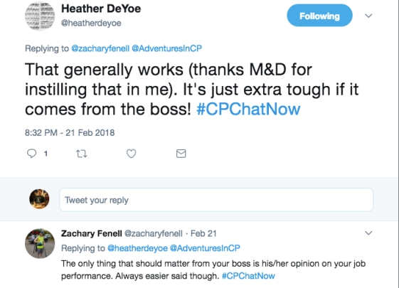 Heather tweeted about how she normally only worries about what she can control. Zach tweeted that the only thing that should matter from a boss is opinions on job performance