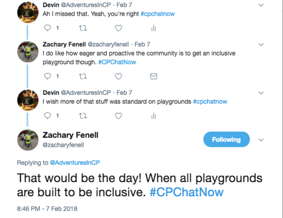 Zach and I discussing that inclusive playgrounds should be the standard