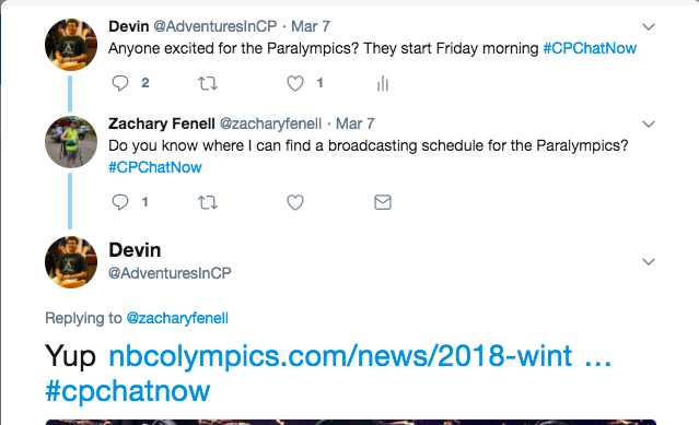 Devin passed along the Paralympic schedule