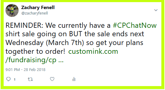 #CPChatNow has a new shirt for sale, but the sale ENDS Wednesday, March 7th, 2017 at midnight ET.