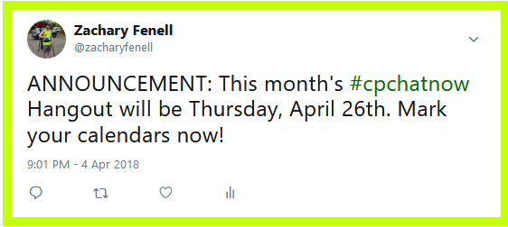 #CPChatNow will hold their monthly Google Hangout for April 2018 Thursday, April 26th.