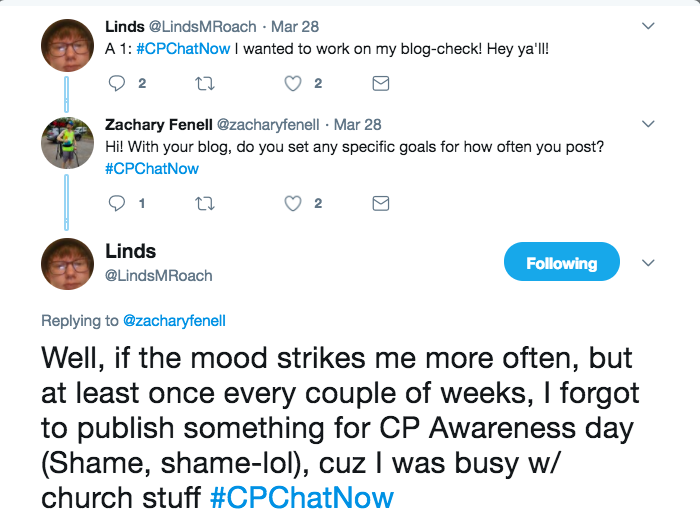 Zach and Linds talking about their goals of blogging. Linds stated she does not have a specific posting goal