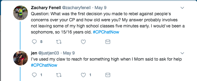 Zach asked about the first time members rebelled against their CP. Zach tweets about not leaving classes. Jen tweeted about grabbing things with her claw rather than asking for help
