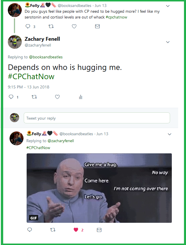 Folly wonders if people with CP need hugs more than others.