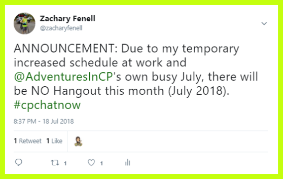 Due to busy schedules there will be no #CPChatNow Google Hangout for July 2018.