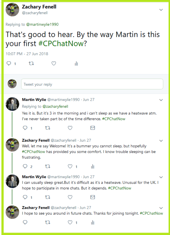 Zachary welcomes Martin to #CPChatNow.