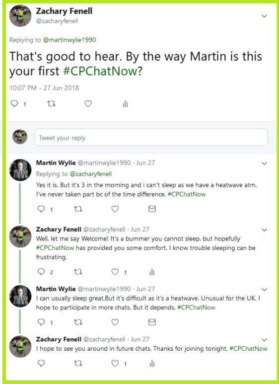 Zachary welcomes Martin to #CPChatNow.