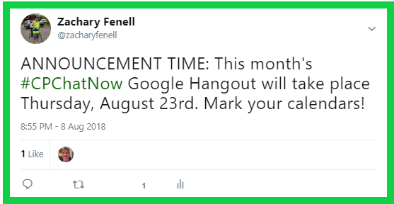 #CPChatNow's August 2018 Google Hangout will happen Thursday, August 23rd.