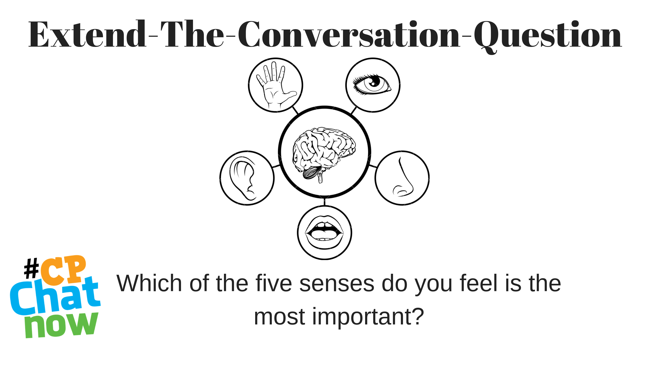 Extend the Conversation Question in black. A graphic with the five senses in circles around a brain with a drawing of a nose, mouth, ear, hand, and eye. Which of the five senses do you feel is the most important? on the bottom with the multi-colored #CPChatNow logo on the left