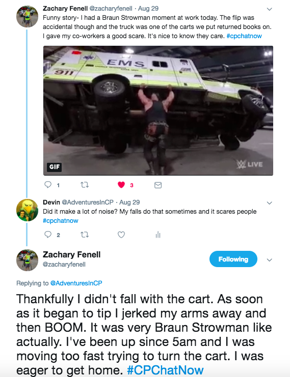 Zach talks about accidentally flipping over a book cart at work.