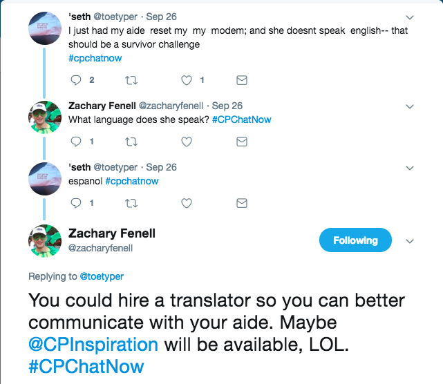 Seth had his Spanish speaking aide reset his modem. Zach pointed out Blake could be a translator.