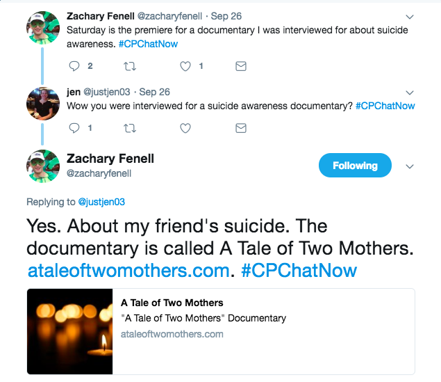Zach shared a documentary about his friend's suicide is premiering