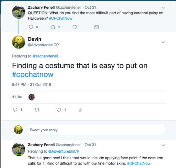 Zach and I tweet about the difficulty of putting on costumes. Zach mentions the difficulty of face paint with fine motor skills