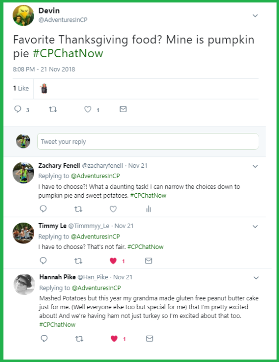 #CPChatNow community members discuss their favorite Thanksgiving foods.