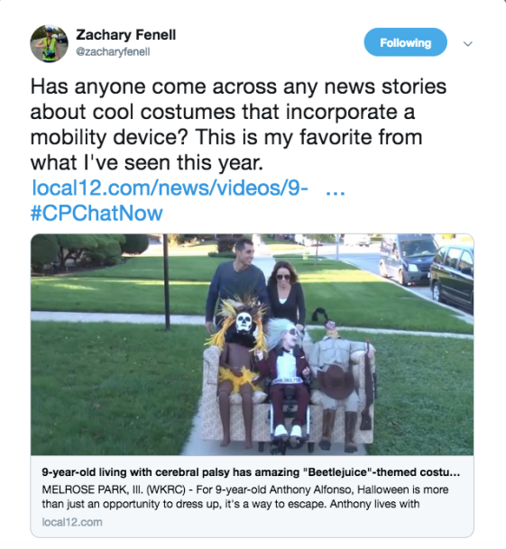 Zach tweeted about a costume incorporating a mobility aid. The image is the image of a kid's wheelchair being pushed by a parents and wearing a Beetlejuice costume with 2 characters sitting beside him