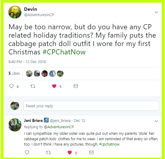 Devin asked participants to share CP related holiday traditions.