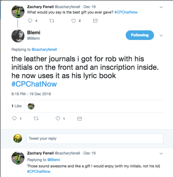 Blemi tweets about the leather journals she gave to Rob