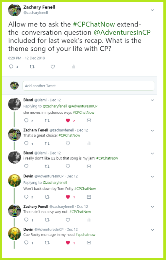 Participants in the #CPChatNow community discuss what they would make the theme song for their life with cerebral palsy.