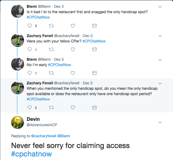 A discussion about Blemi asking if it was bad she claimed the only handicapped parking spot. I tweeted that she should never feel sorry for claiming access