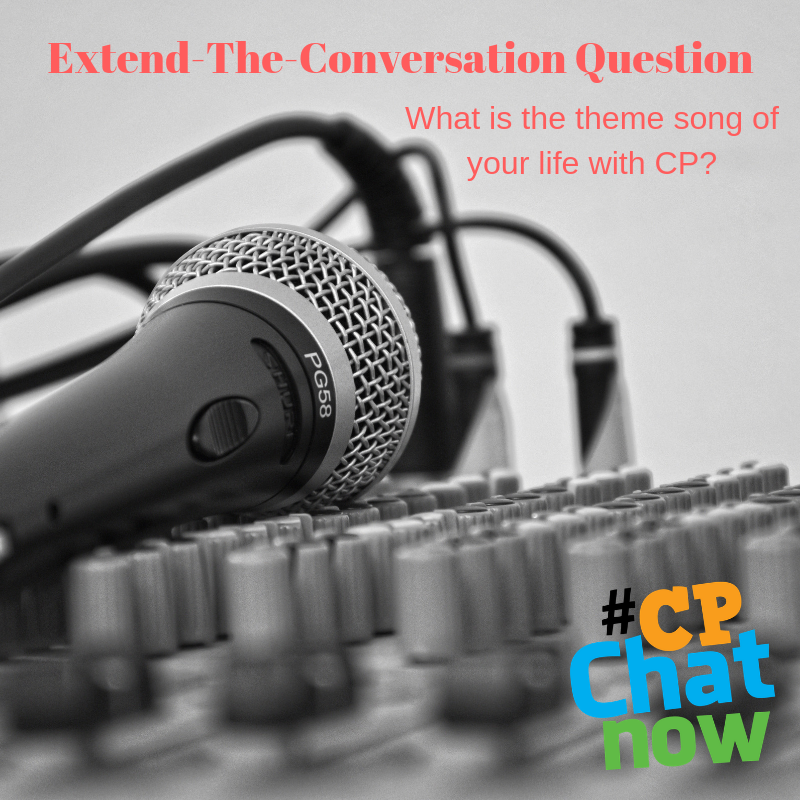 Extend-the-conversation question in red with What is the theme song of your life with CP? in red as well. There is a black and white picture of a microphone with some knobs.