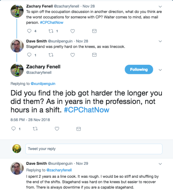 Zach and Dave tweet about bad occupations for people with CP. Dave tweets about stagehand and line cook being difficult on the knees