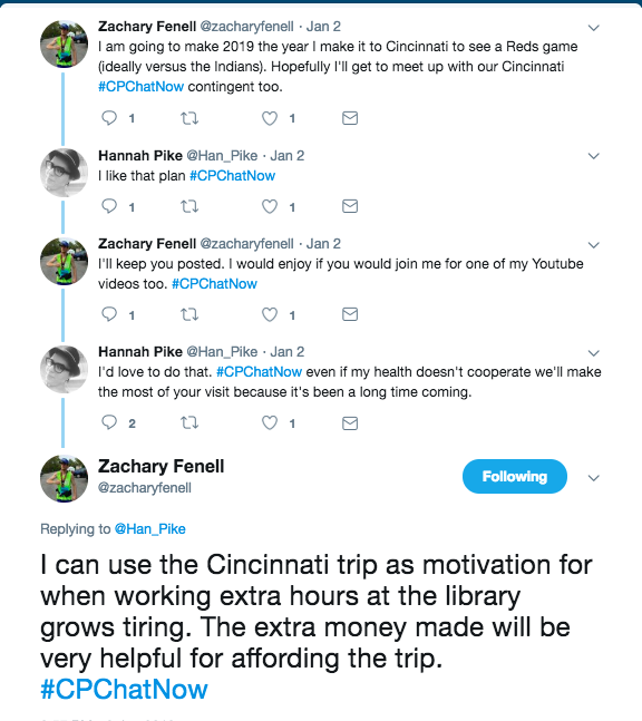 Zach and Hannah tweeting about Zach going to Cincinnati to see a reds game and visit the #CPChatNow crew
