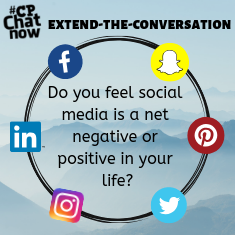 "This week's extend-the-conversation question  asks ""Do you feel social media is a net negative or positive in your life?"""