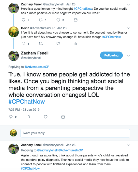 "Zach and I talked about getting addicted to ""likes,"" but also having access to information you would not have like parents with a CP diagnosis."