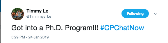 Timmy announces acceptance to a PhD program