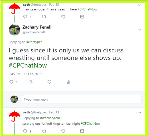 While waiting for others to join #CPChatNow, Zachary and Seth discuss pro wrestling.