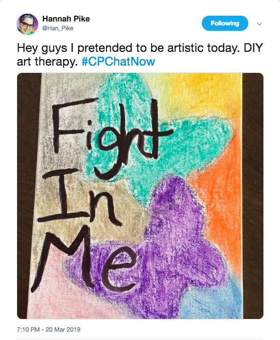"Hannah tweeted her artistic side. She created a drawing that said, ""Fight in me' with a teal and purple butterfly. there is gray, pink, orange, and yellow."