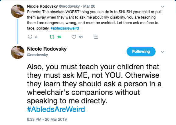 nicole rodvosky tweets the worst thing people do is shush their child or pull them away. encourage them to ask them face to face and ask the actual person.