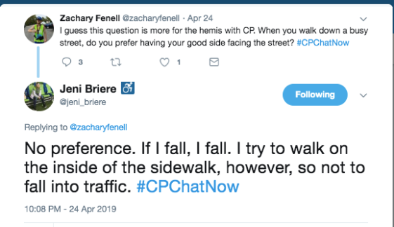 zach asked about which side of the street members with hemiplegic cp prefer to face. jeni tweeted no preference, but she prefers to walk on the inside of the sidewalk if possible