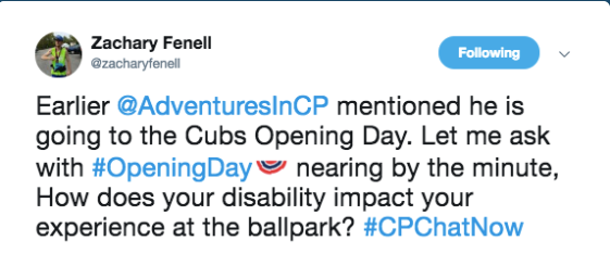 Zach asked how people's disabilities impact their experience at the ballpark when Devin tweeted he is going to opening day