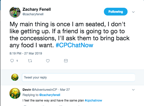 zach said once he is seated he does not get up and relies on friends to get food. I tweeted this was my same plan.
