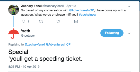 "seth tweets about his words he is miffed by 'special' and ""you'll get a speeding ticket"""