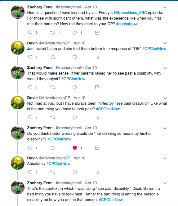 zach asks about meeting significant other's parents with cp. i said it was not an issue with my girlfriend's parents. we discussed the phrase seeing past a disability and then not defining someone by their disability