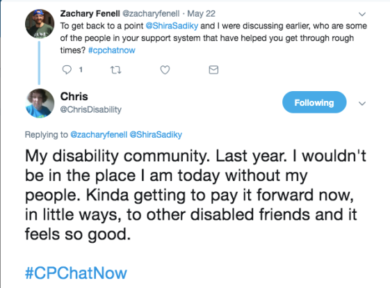 chris shared she gets support from her disability community and she is trying to pay it forward
