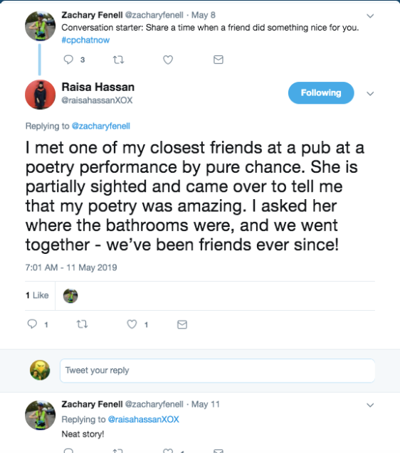 zach asked about a friend doing something nice. raisa tweeted about a friend helping her find bathrooms at a poetry event at a pub