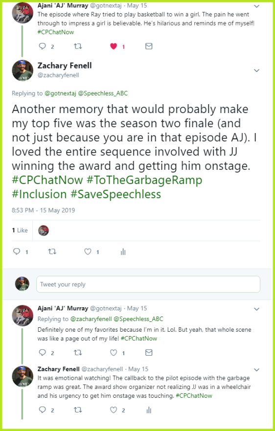Zachary and AJ continue discussing their favorite Speechless memories.