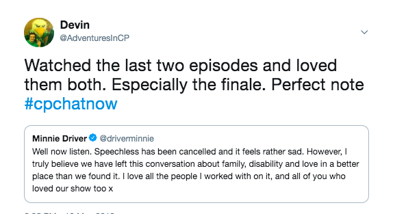 minnie driver's tweet announced speechless had been canceled, i tweeted i watched the last two episodes and loved them both