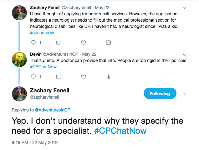zach shared he thought of applying for paratransit but he would need to see a neurologist. i tweeted that i felt a doctor could provide that info and zach agreed